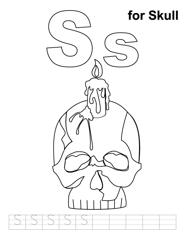S for skull coloring page with handwriting practice
