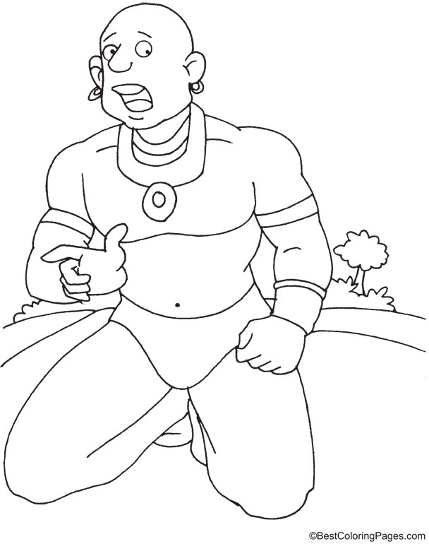 Sabu the giant coloring page