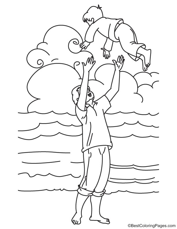 Safe in fathers hands coloring page
