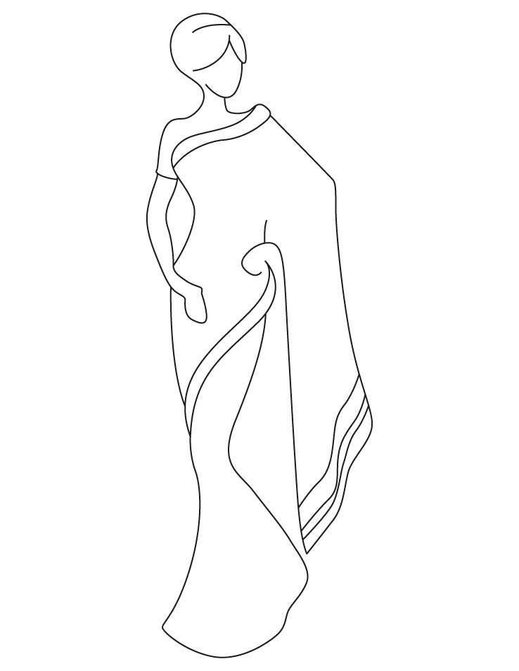 saree coloring pages