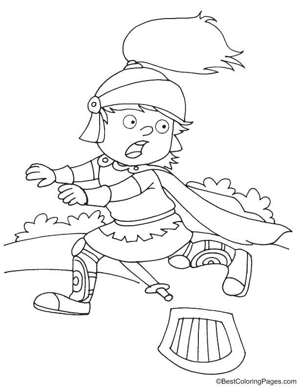 Scared Knight Running Coloring Page Download Free Scared Knight