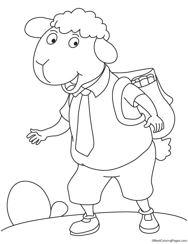 School going sheep coloring page