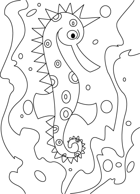 Seahorse blush coloring pages
