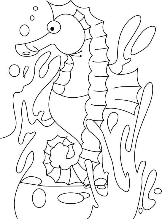 Depressed seahorse coloring pages