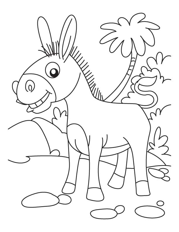 Seaside donkey coloring page Download Free Seaside donkey