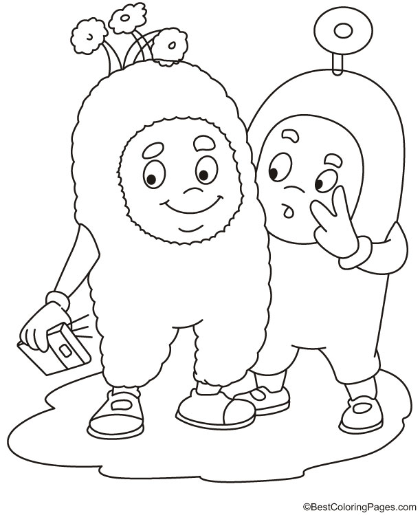 selfie pose coloring page