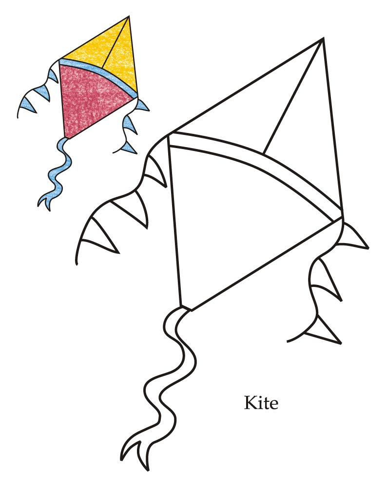 0 level kite coloring page - Kite Coloring Page