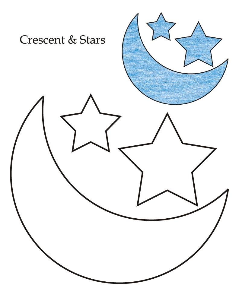 Moon coloring pages for preschoolers - 0 Level Crescent And Stars Coloring Page