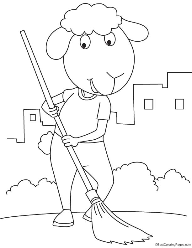 Sheep cleaning the city coloring page