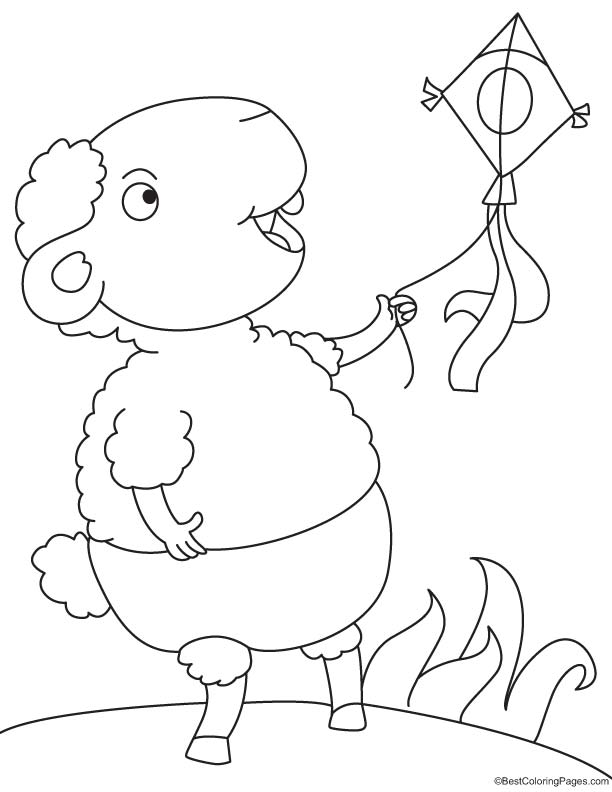 Sheep flying the kite coloring page