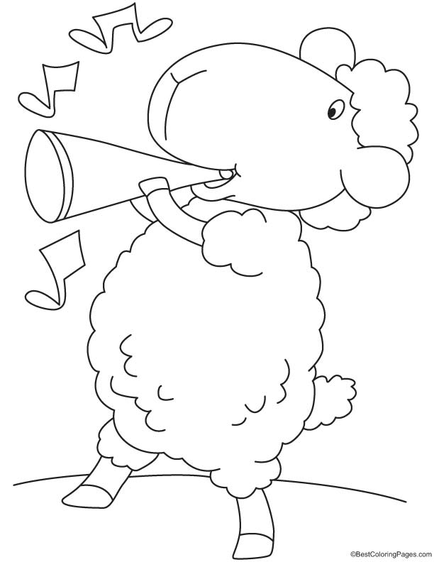 Sheep in playful mood coloring page