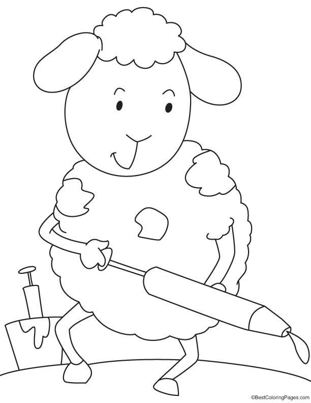 Sheep playing holi coloring page