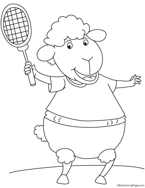 Sheep playing tennis coloring page