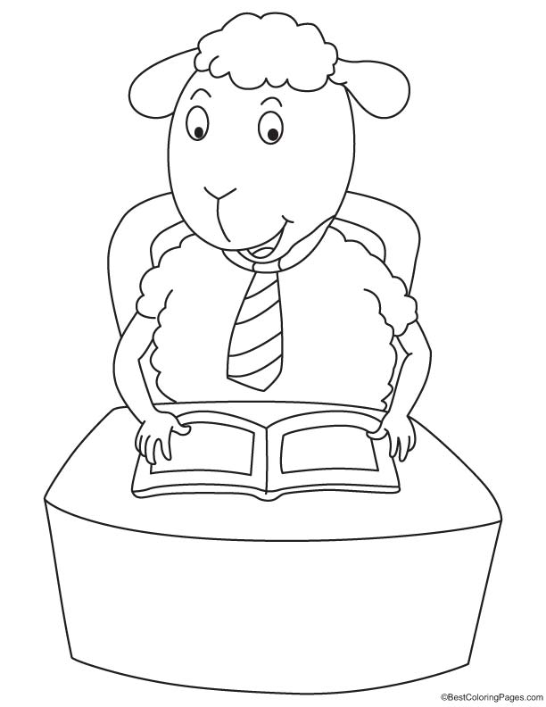 Sheep reading the book coloring page