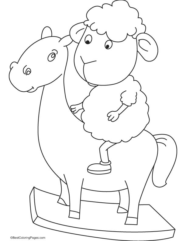 Sheep riding the horse coloring page