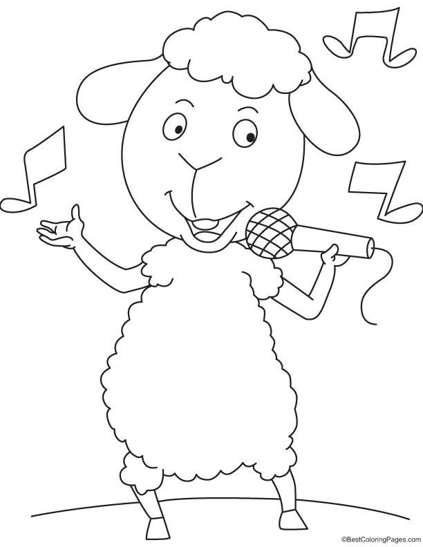 Sheep singing coloring page