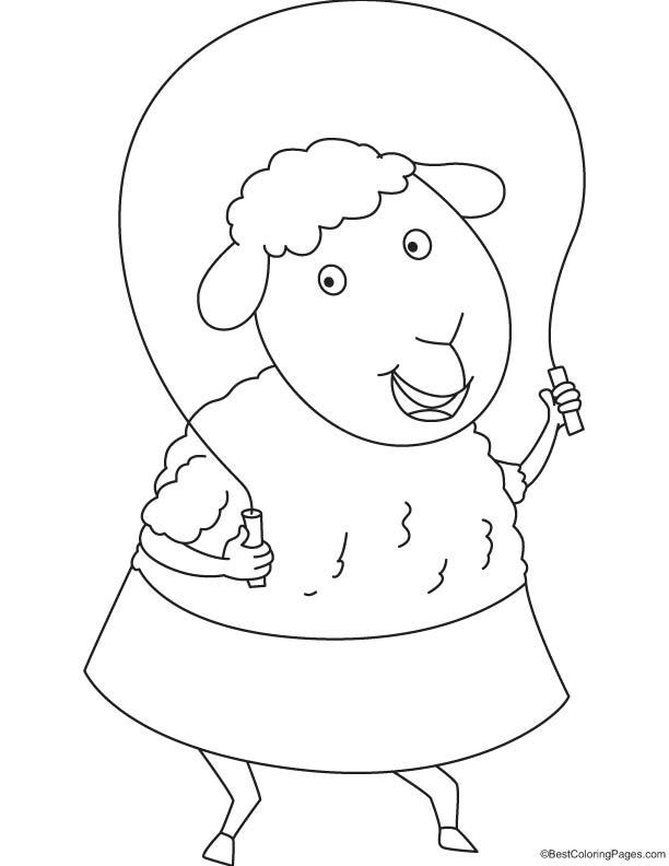 Sheep skipping coloring page