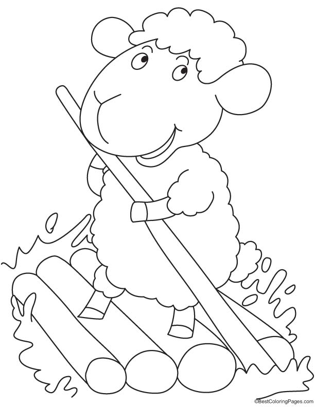 Sheep smiling coloring page