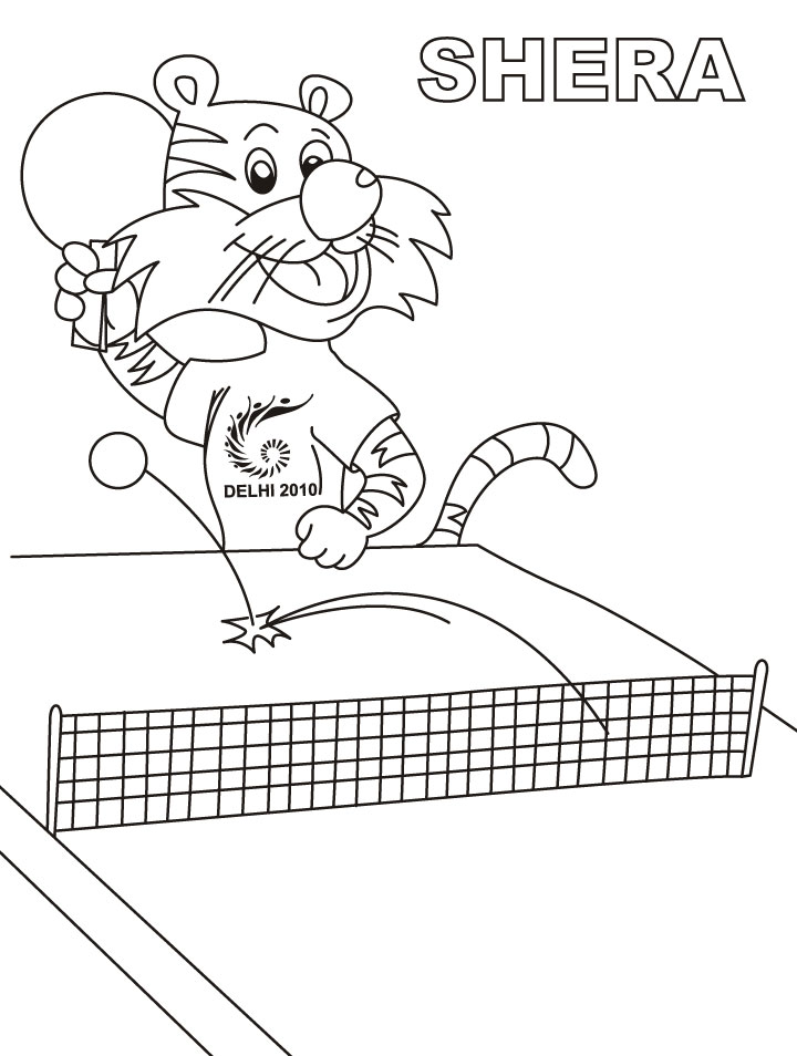 shera playing table tennis coloring page