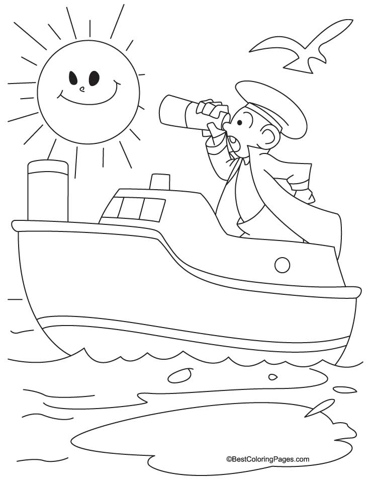 Small ship coloring page