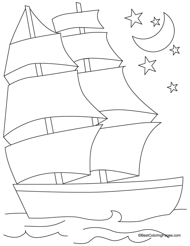 Sailing ship coloring page