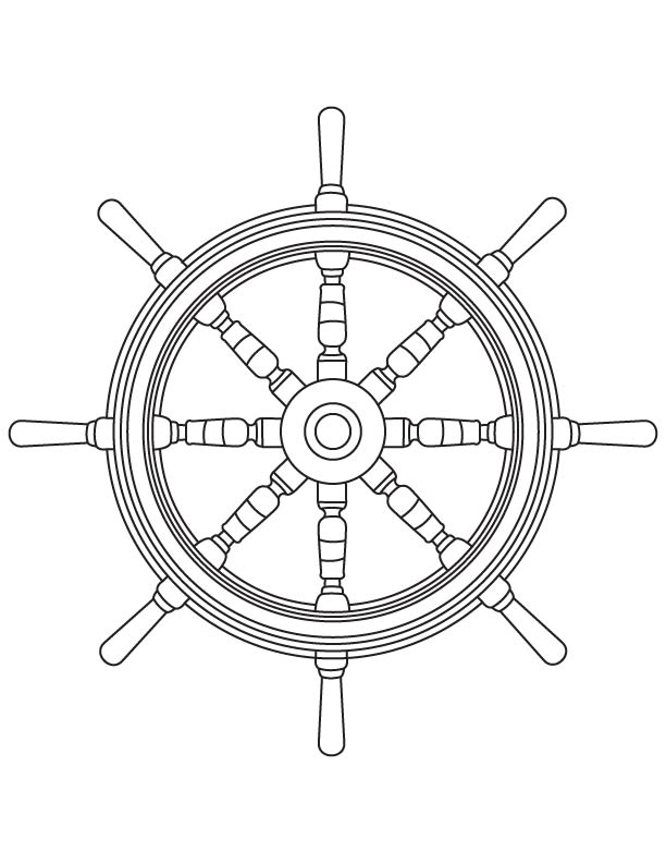 Ship wheel coloring page