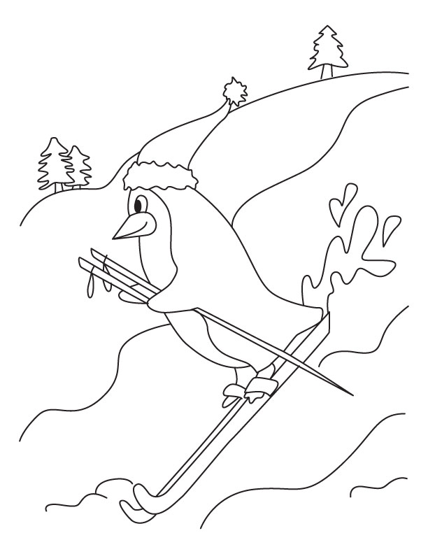 Penguin skiing coloring page   Download Free Penguin skiing ...