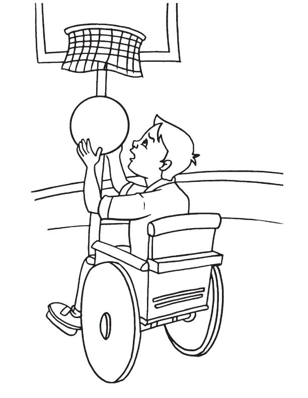 Slam dunk on wheelchair coloring