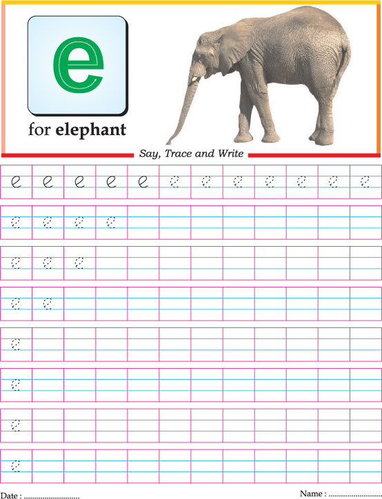 Small letter e practice worksheet | Download Free Small letter e ...