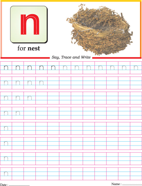 Small letter n practice worksheet | Download Free Small letter n ...