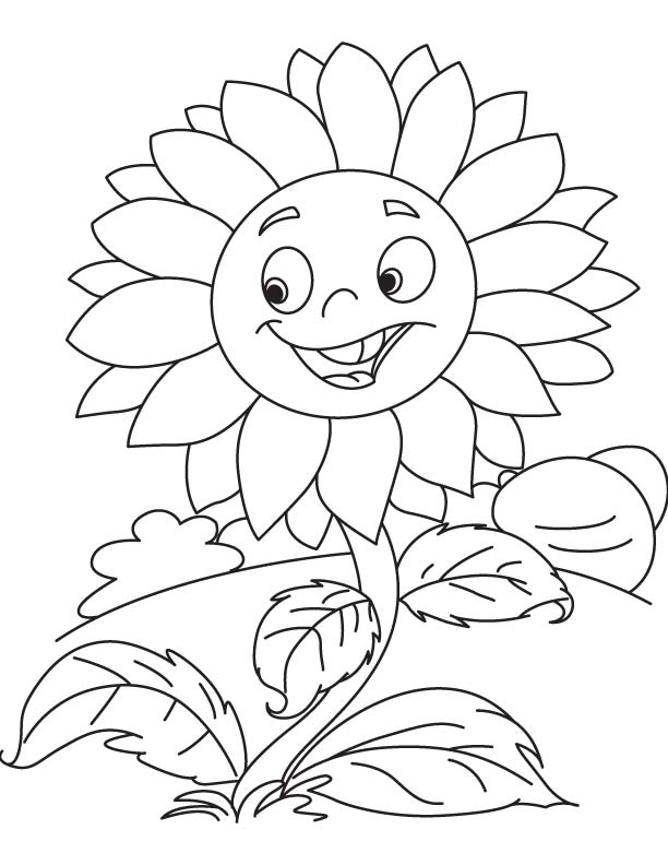 Smiley Sunflower Coloring Page