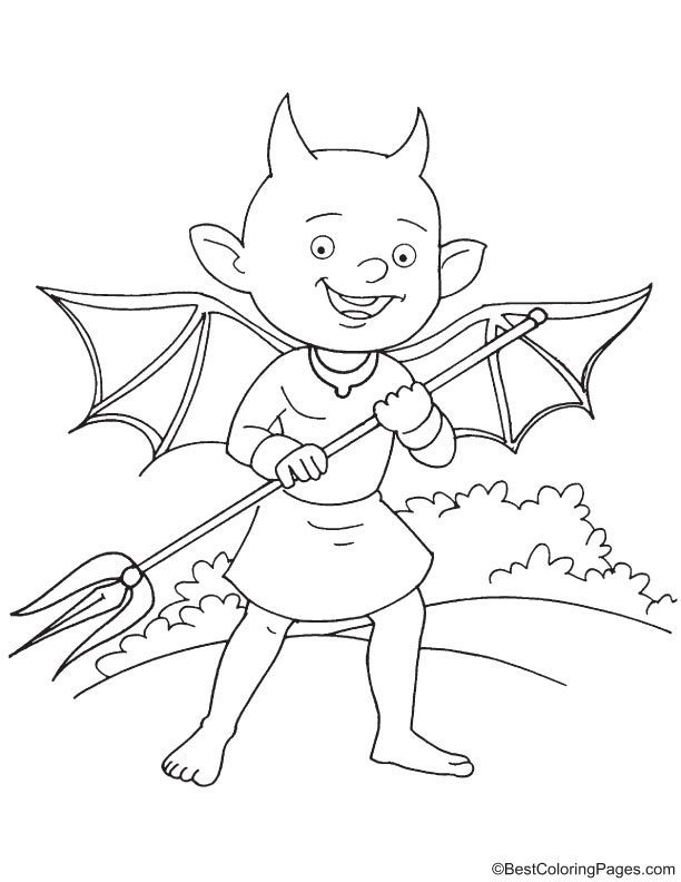 Smiling devil holding trident coloring page