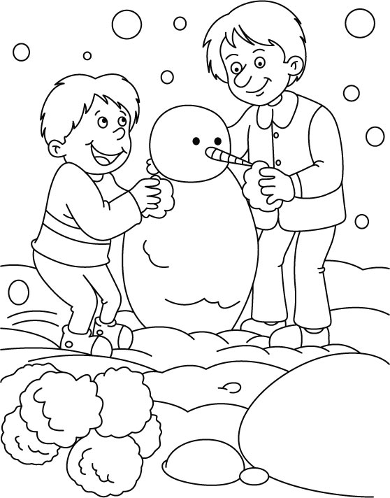 Boys making Snowman coloring page