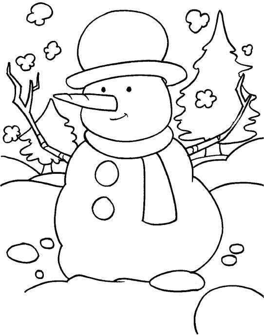 A Funny Snowman In The Snowy Field With Scarf And A Hat