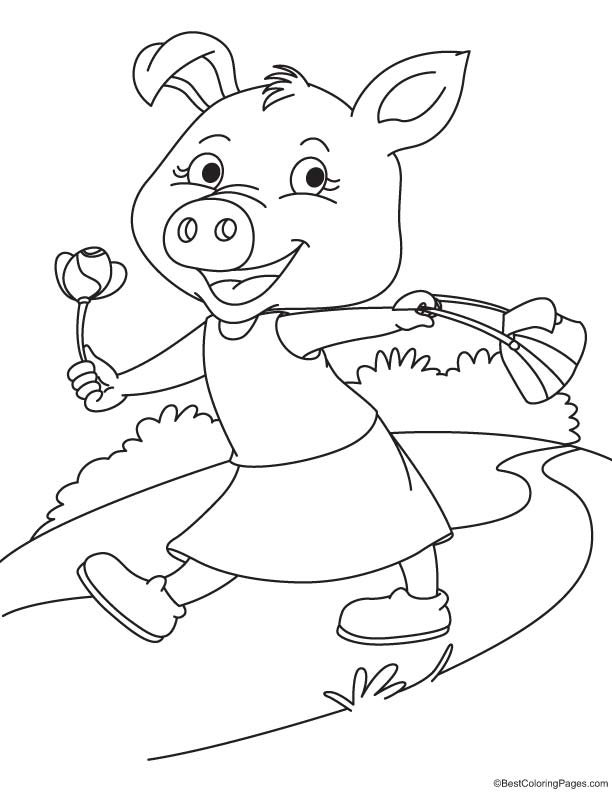Sow with flower coloring page