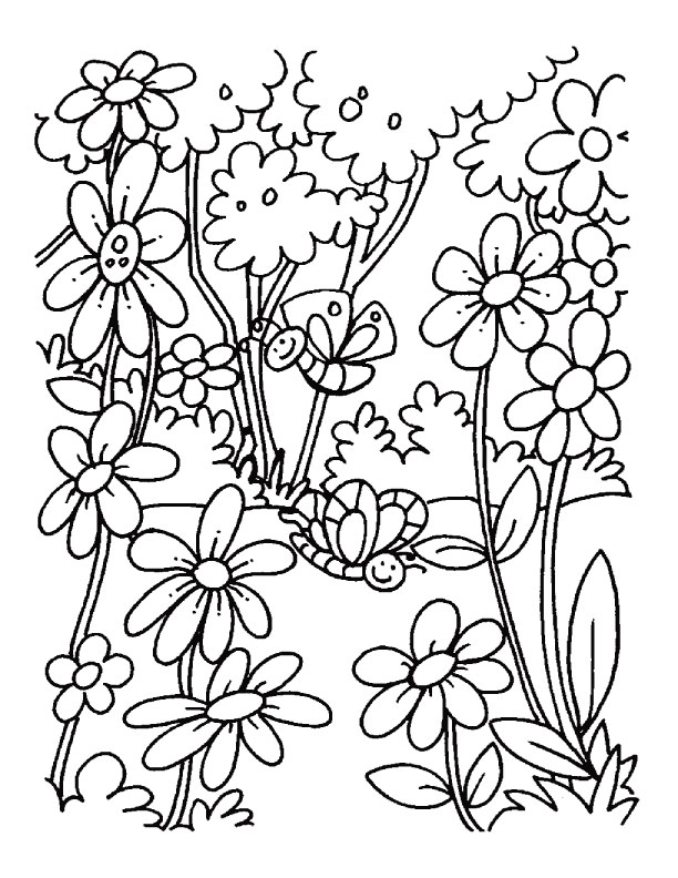 blooming field of flowers coloring pages | Download Free A blooming ...