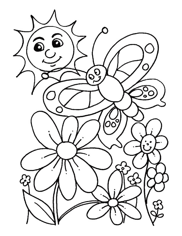 Beautiful spring day coloring page | Download Free Beautiful ...