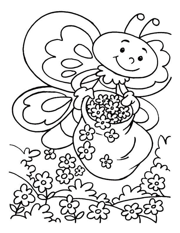 Honeybee in flower garden coloring pages Download Free Honeybee