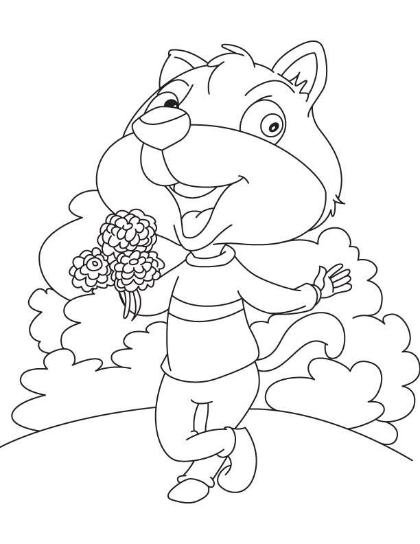 Squirrel collecting dahlia coloring page