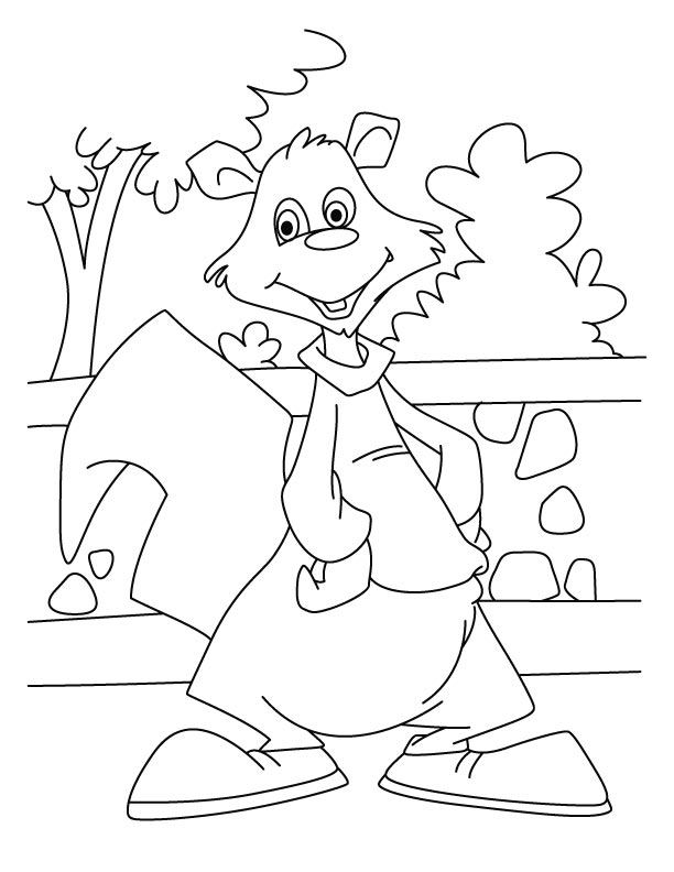 Happy squirrel coloring pages