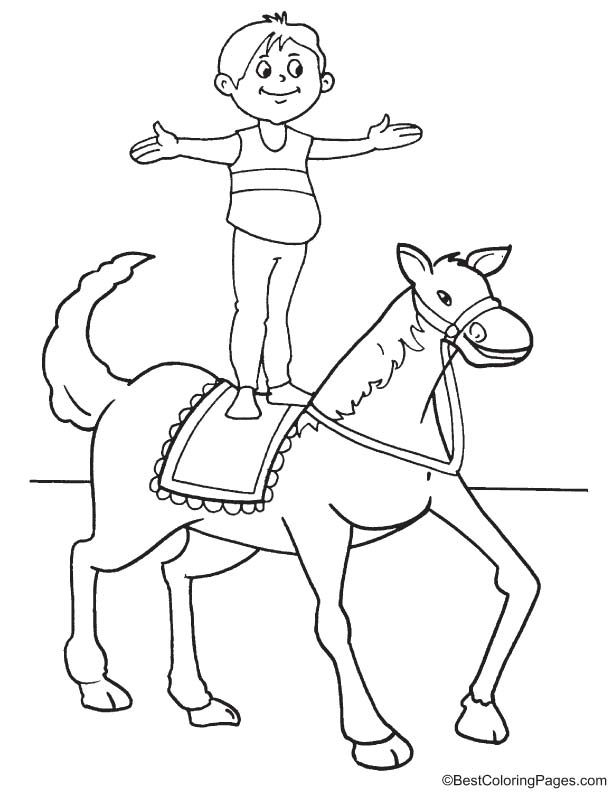 Standing on horse coloring page