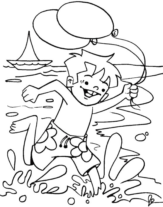 Boy Running At Beach Coloring Page