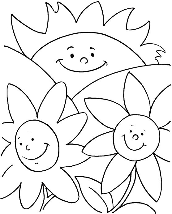 Happy flowers coloring page Download Free Happy flowers