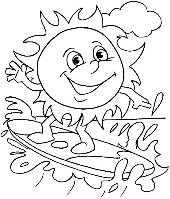 Water Surfing Coloring Page