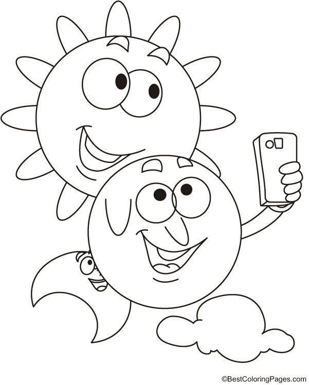 Sun and moon selfie coloring page