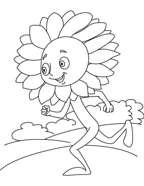Sunflower Running In Garden Coloring Page