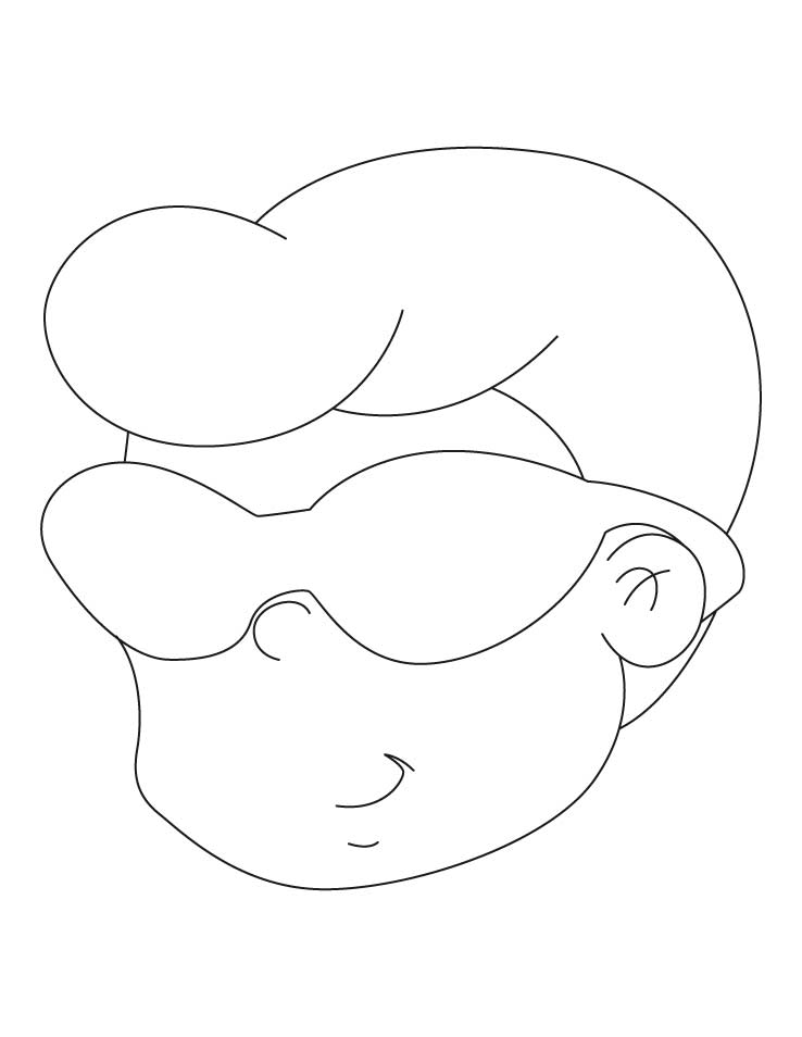 Boy wearing sunglasses coloring pages