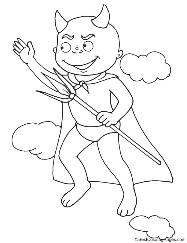 Super devil coloring page