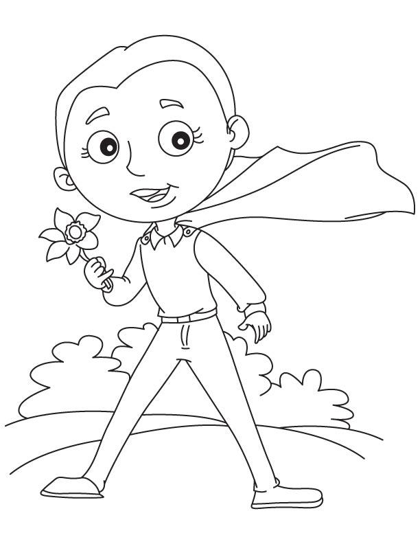 Super hero holding daffodil