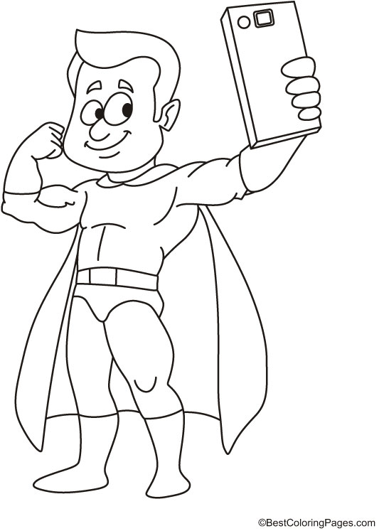 Superboy taking selfie coloring page